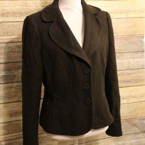 Anne Taylor Wool Snap Button Blazer Brown Sz 10